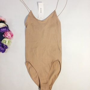 New Urban Outfitters beige nude rib bodysuit S